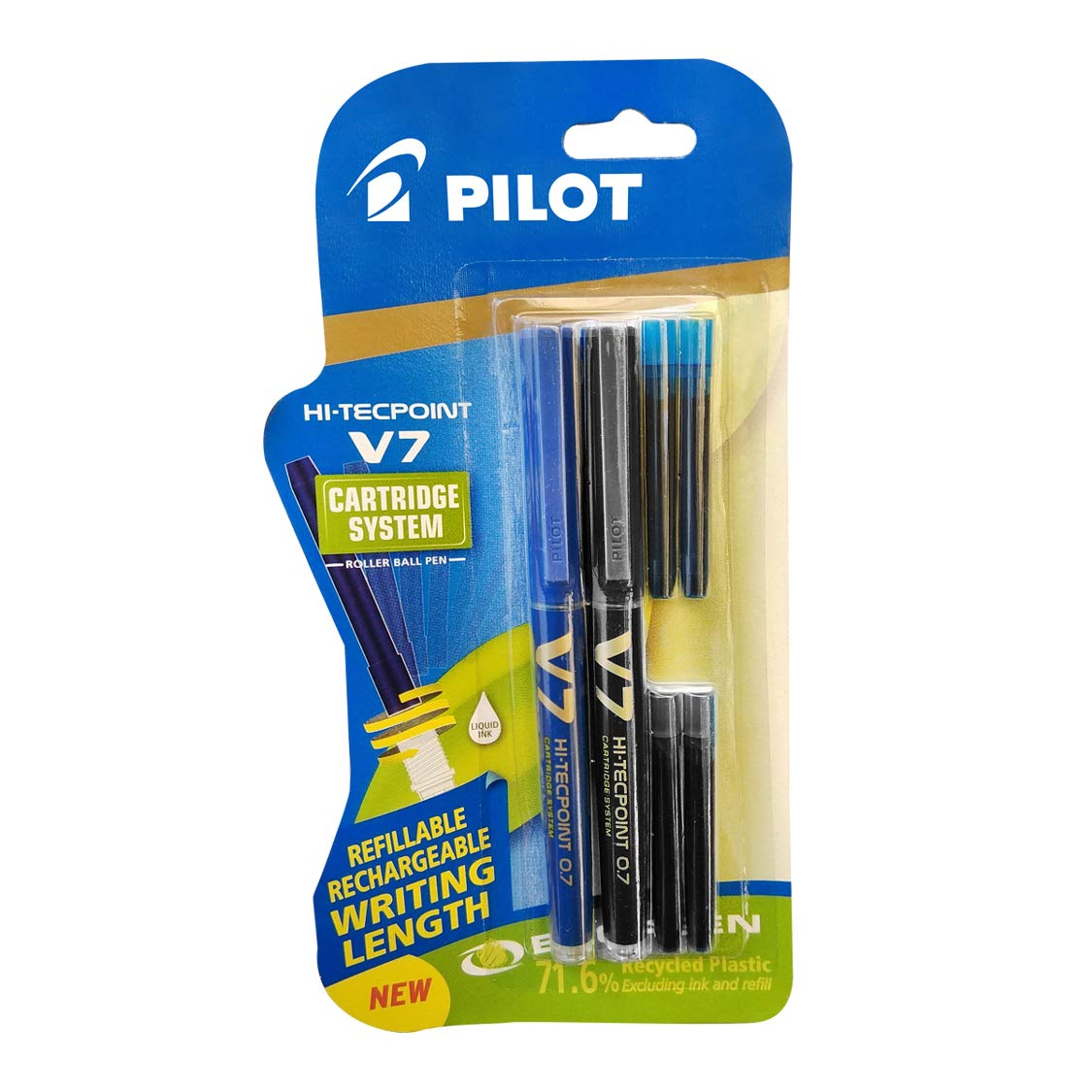 Pilot V7 Hi-tecpoint Pen with cartridge system - 1 Blue, 1 Black Pen, 2 Blue cartridges, 2 Black cartridges product image