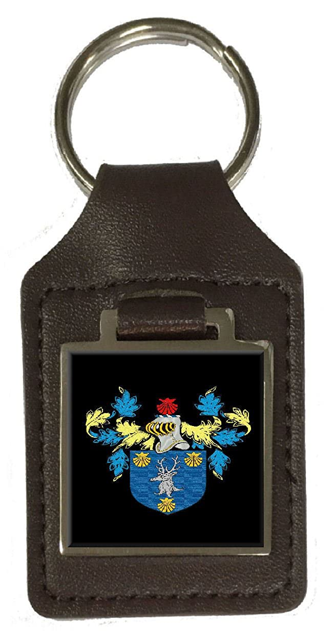 Holland Heraldry Surname Coat Of Arms Brown Leather Keyring Engraved