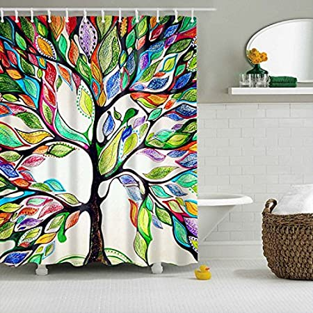 Shower Curtain Tree Of Life Fabric Colorful With 12 Ring Hooks