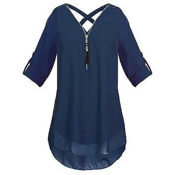 HOSOME Women Top Womens V Neck Zipper Pure Color Chiffon T-shirts Casual Loose Tops