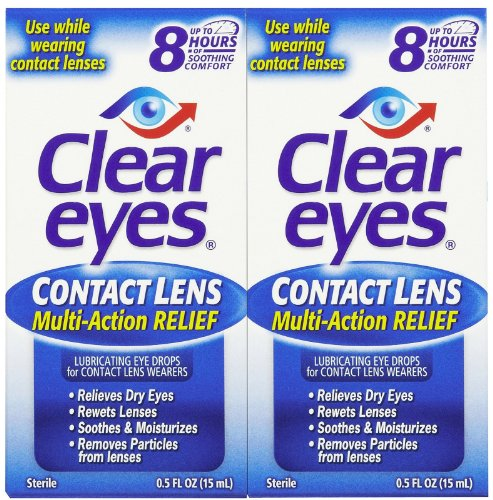 Rewetting Drops Lens (Clear Eyes Contact Lens Relief Eye Drops-0.5 oz, 2 pack)
