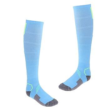 FLAMEER 1 Par de Calcetines Largos Antideslizantes de Fútbol Baloncesto Voleibol Excelente Vestido de Adultos para Actividades al Aire Libre - Azul y Verde: ...