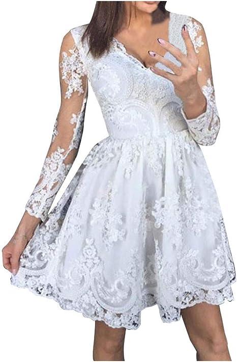 Sannysis Damen Spitzenkleid Festlich Hochzeit Mini Kleider Party Abendkleider Langarm Elegante Swing Kleider Frauen Schone Rockabilly Kleid Cocktailkleid Xl Weiss Amazon De Musikinstrumente