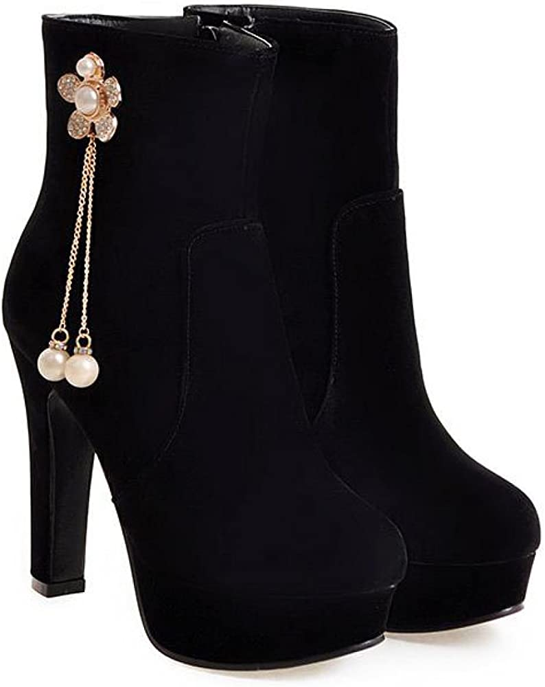 QVRGE Botines De Mujer Botas De Tacón Alto Martin Shoes,Black-1-43 ...