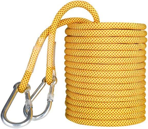 クライミングロープマルチサイズ、ヘビーデューティロープアウトドアファイヤー脱出救助パラシュート静的屋内ロープ、直径16ミリメートル安全な耐久性 (色 : 黄, サイズ : 80cm) 黄 80cm