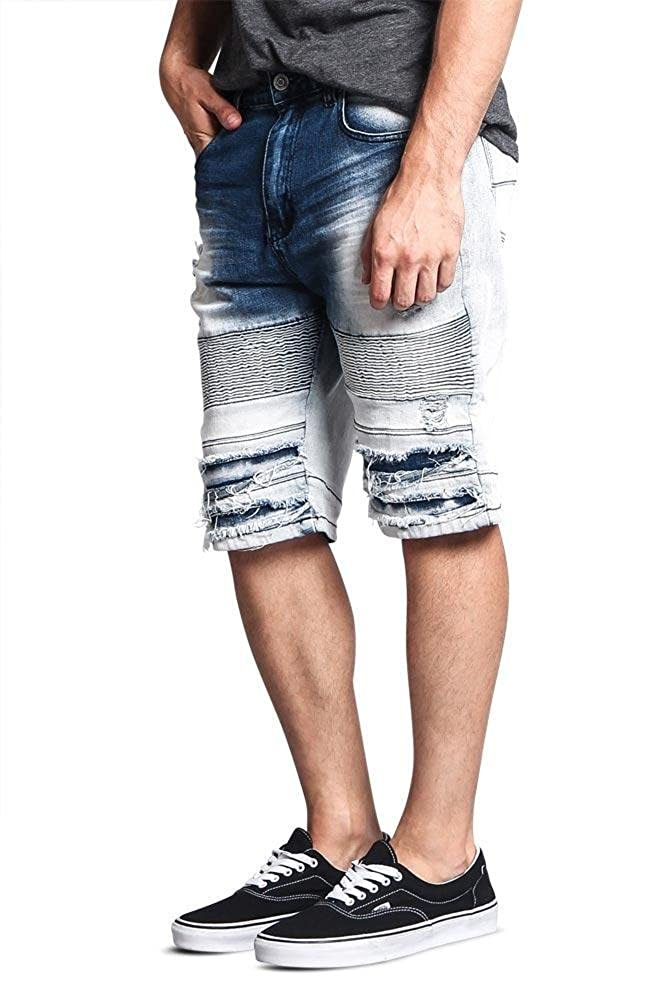 Victorious Mens Moto Style Ribbed Biker Distressed Denim Shorts