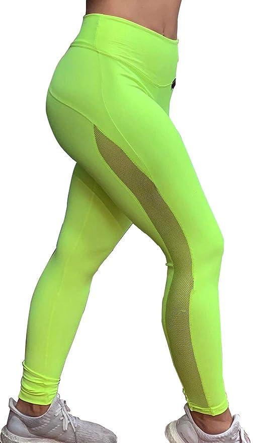 A Mallas de Mujer M Sport Leggings Deportivos para Mujer Push up Brocado Verde