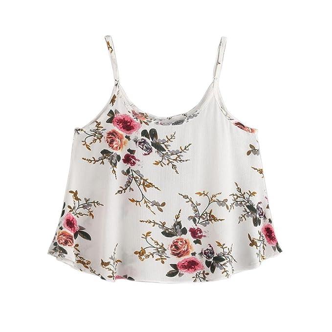 6e3d094b450 Ankola Crop Tops, Women's Sleeveless Loose Cami Blouses Floral Spaghetti  Strap Tank Top