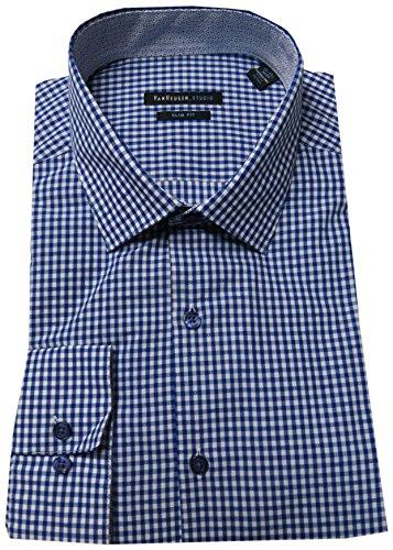 Van Heusen Studio Men's Slim-Fit Spread-Collar Dress Shirt, Indigo, 17-17.5 36/37