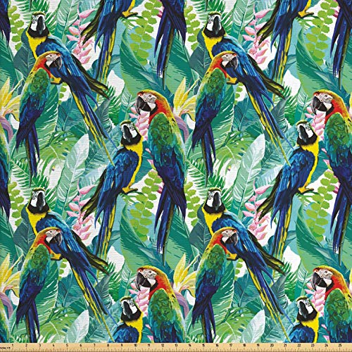 Lunarable Parrots Fabric by The Yard, Colorful Parrots Tropic Flowers Warm Weather Gardens Vacation Traveling, Decorative Fabric for Upholstery and Home Accents, 1 Yard, Indigo Green (Fabric Colorful Upholstery)