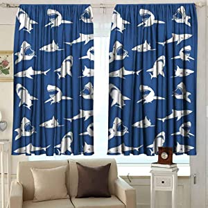 GUUVOR Shark Heat Insulation Curtain Shark Pattern with Various Gestures Have A Bite Danger Humor Nautical Design for Living Room or Bedroom W42 x L36 Inch Violet Blue White