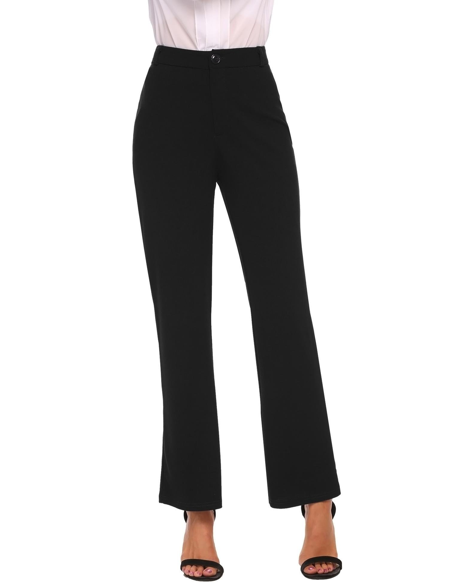 Zeagoo Women's Casual Loose Wide Flare Leg High Waist Long Pants Black M