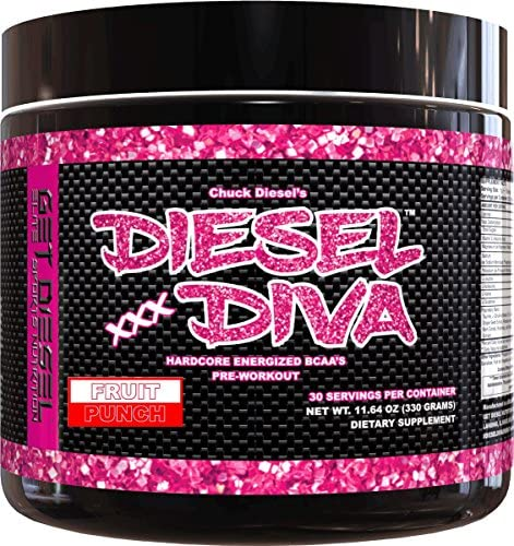 Women Preworkout Energizer and Energy Shot Fruit Punch Diesel Diva Energized BCAAs with no Artificial Flavors or Colors. 3 Grams Vegan Friendly Fermented BCAAs. 330 Grams