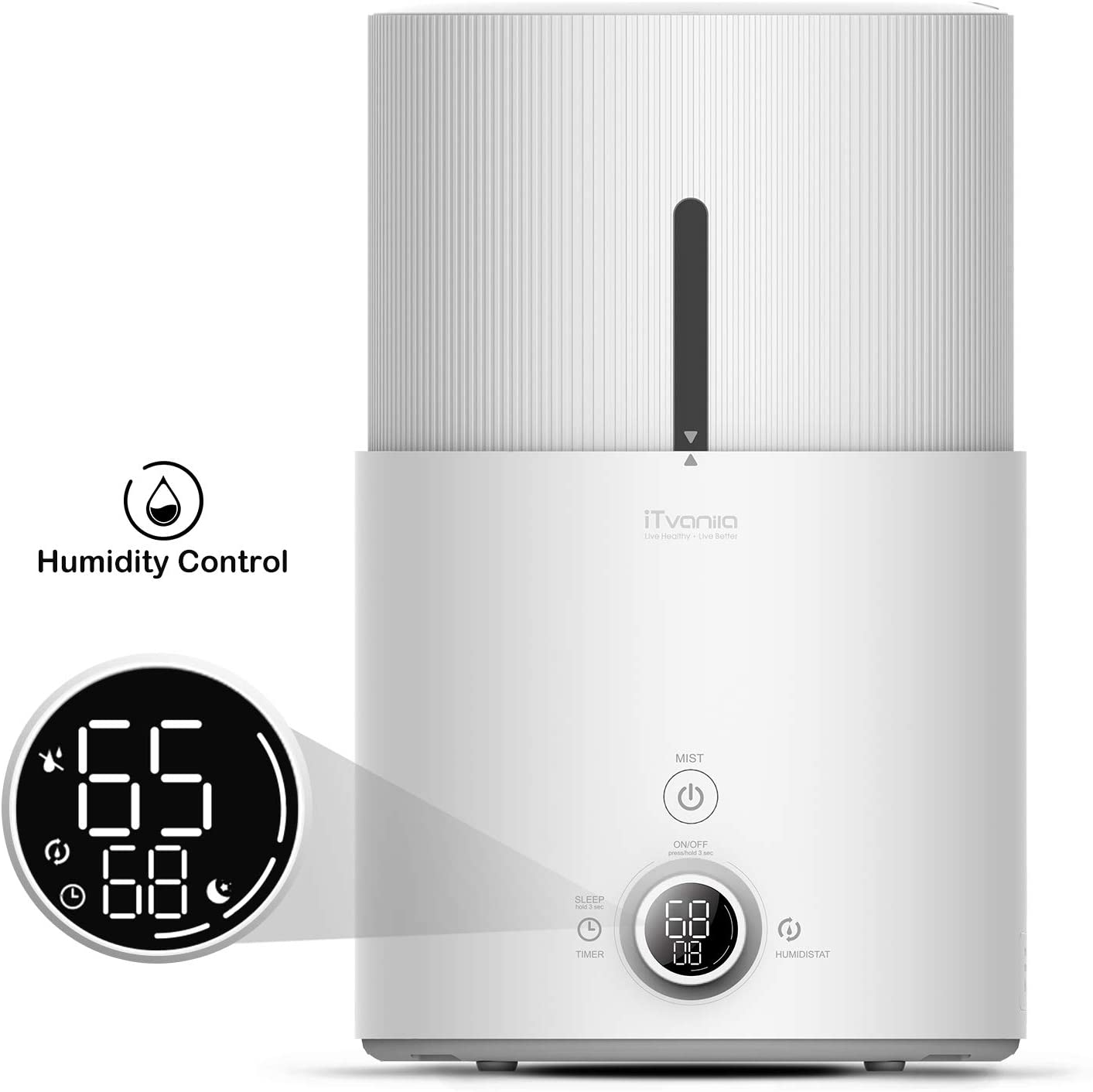 iTvanila Cool Mist Humidifier Essential Oil Diffuser, 4.5L Humidifiers for Large Bedroom Baby, Automatic Humidity Keeping with LED Display, Whisper-Quiet Operation, Lasts Up to 48 Hours Z1