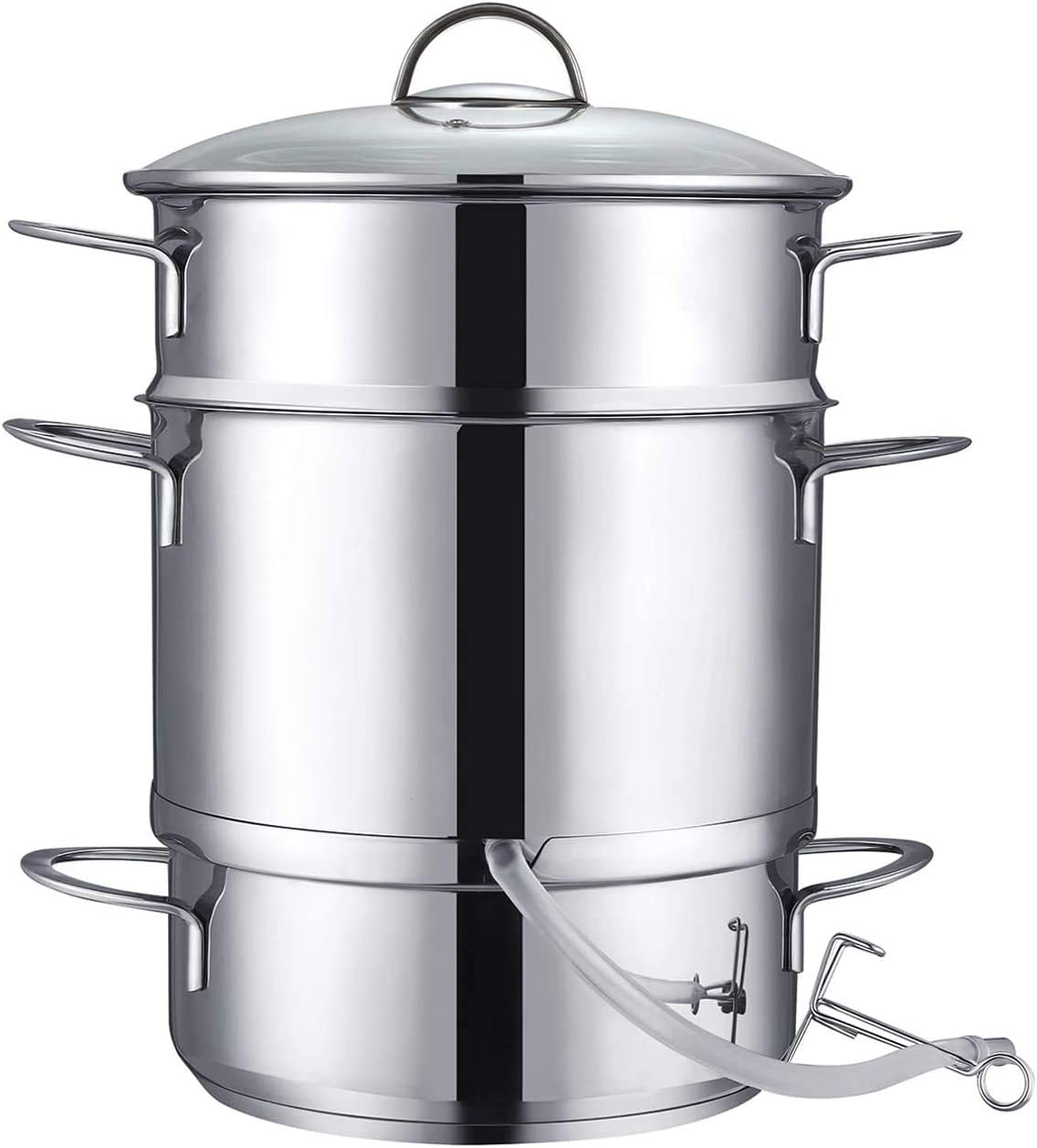 Mr. Right Juicer Steamer, 26cm 11-Quart Stainless Steel Fruit Vegetables Steamer For Food With Glass Lid Hose With Clamp Loop Handles, Perfect Home Kitchen Stainless Steel Cookware