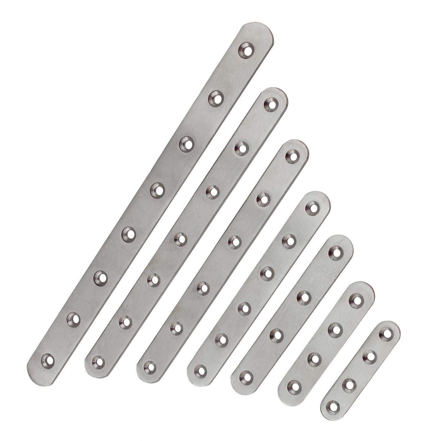 chapa perforada abrazaderas placa perforada 7 tama/ños Conector plano de acero inoxidable /ángulo de metal conector de madera conector