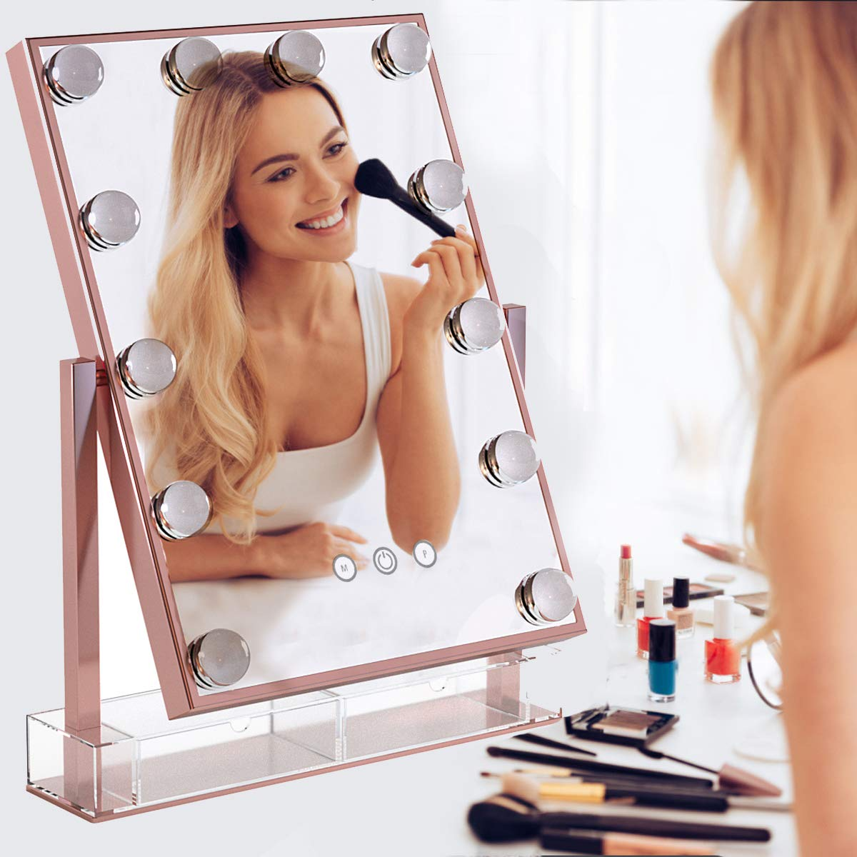 Hansong Hollywood Makeup Vanity Mirror with Lights,Plug in Light-up Professional Mirror,Removable 10x Magnification,3 Color Lighting Modes, Cosmetic Mirror with 12 Dimmable Bulbs for Dressing Desk