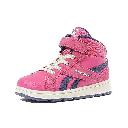 Reebok - Zapatillas de Piel para niña rosa Rosa, Azul marino-Blanco-Rosa, 23,5: Amazon.es: Zapatos y complementos