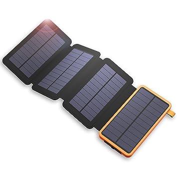 X-DRAGON 20000mAh Cargador Solar Power Bank con 4 Paneles Solares, Dual USB, Linterna LED Impermeable Portátil Batería Externa Copia de Seguridad para ...