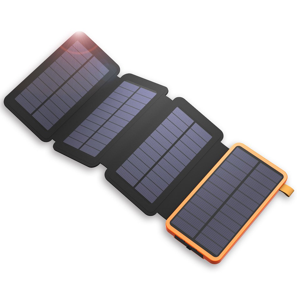 X-DRAGON Solar Charger, 20000mAh Solar Power Bank with 4 Solar Panels, Dual USB, LED Flashlight Waterproof Portable External Battery Backup for iPhone, Cell Phones, ipad and More-Orange