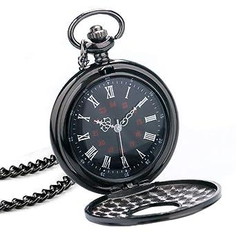 f7d6c57d05fb BestFire Pocket Watch Black Roman Retro Vintage Quartz Pocket Watch Roman  Numerals Steampunk Fob Watch  Amazon.co.uk  Watches