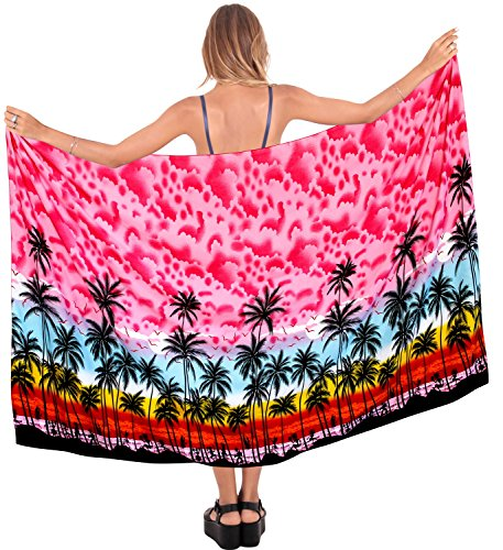LA LEELA Soft Light Beach Bikini Suit Women Sarong Printed 78