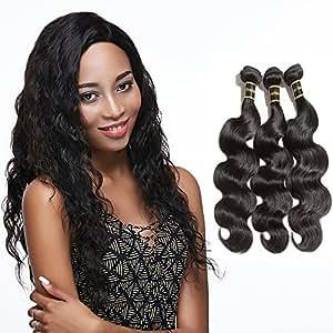 "Rechoo Brazilian Virgin Remy Human Hair Extension Weave Mixed Length 3 Bundles 300g - Natural Black,Body Wave (10""10""10"")"
