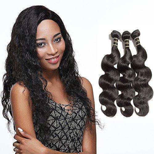 Rechoo 6A Grade Mixed Length Brazilian Virgin Remy Human Hair Extension Weave 3 Bundles 300g - Natural Black,Body Wave (16