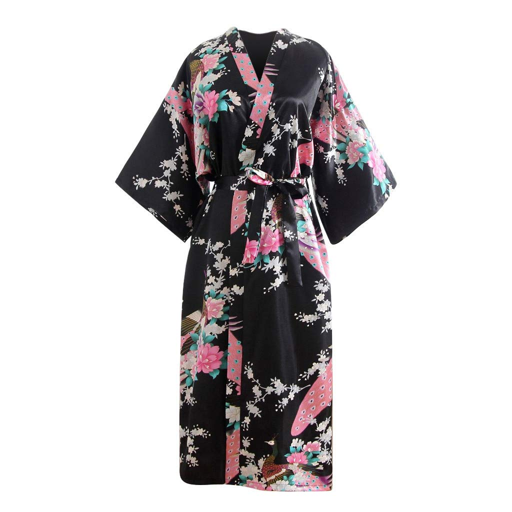 Women's Sexy Long Nightgown Women Floral Printed Oblique V-Neck Satin Bath Kimono Robe Lingerie Easter Gift (Free, Black)