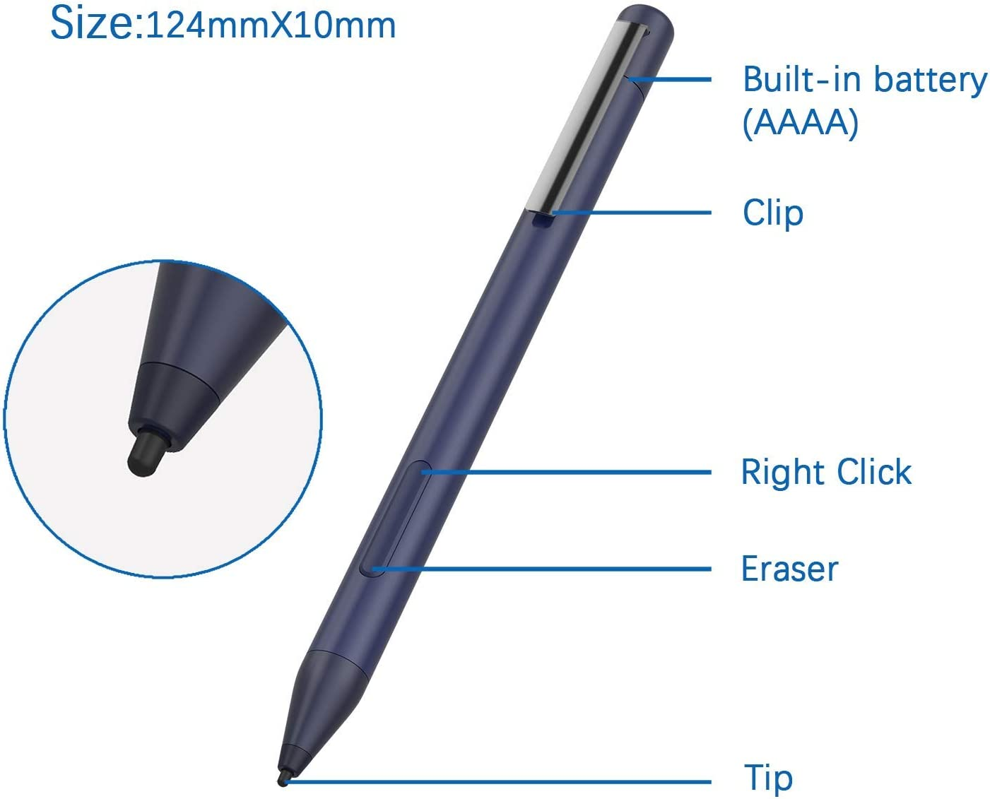 Broonel Silver Mini Fine Point Digital Active Stylus Pen Compatible with The HP 15.6-Inch HD Touchscreen Laptop