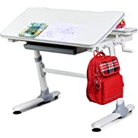 BABY JOY Kids Desk, 38.5 x 28 x 23-31.5 Inches, Height Adjustable, Teens Study School Table with Tilting Desktop and Storage Drawer, Interactive Workstation for Children Aged 3 to 14 (Gray)
