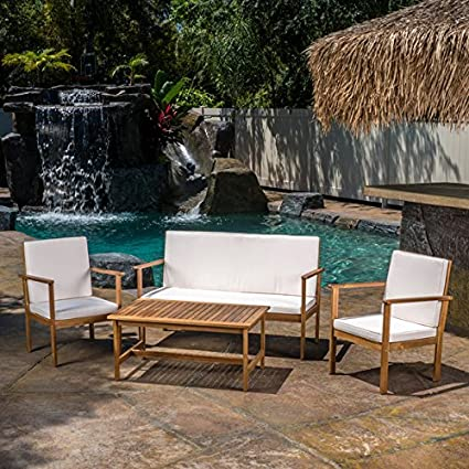 Amazon Com Christopher Knight Home Luciano Outdoor 4 Piece Acacia
