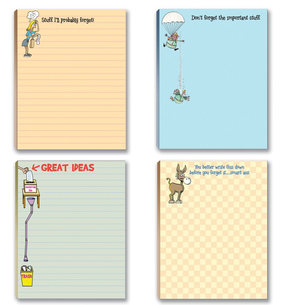 Funny To Do List Note Pad Assorted Pack - 4 Pads For Your Lists