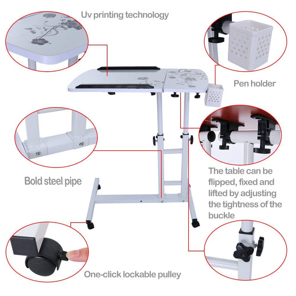 Lucoo Laptop Desk Folding Computer Desk Household Can Be Lifted and Folded 64cm40cm (White) by Lucoo (Image #2)