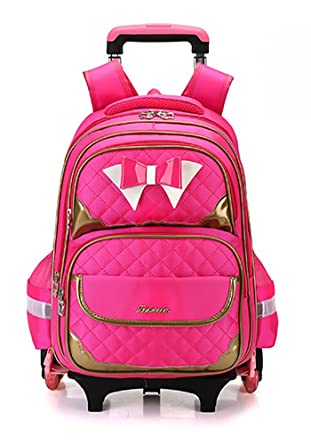 52fb874a2a Meetbelify Rolling Backpack Luggage School Travel Bag Flashing Wheeled For  Kids Rose Red With 6 Wheels
