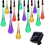 [15ft 30LEDs] Solar String Lights, T-SUN Solar Powered Outdoor Garden Fairy Lights, Water Drop Decorative Lights for Garden, BBQ, Camping, Party, Christmas Tree and Home Ornaments.