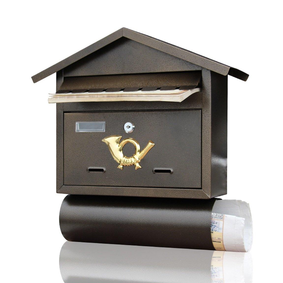 HZB ヴィラ郵便受け屋外アイアンアート壁掛け新聞バークリエイティブアドバイスボックスカフェヴィンテージウォールハンギングメールボックス   B07FH86578