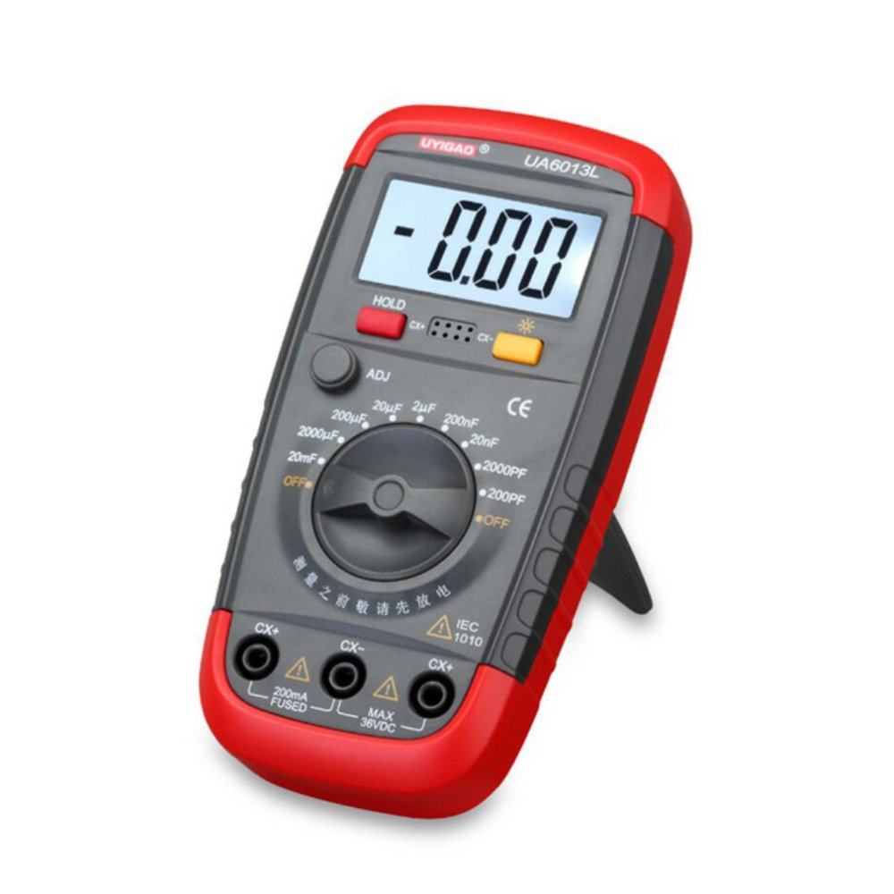 Xiangtat Multimeter Digital Auto Capacitance Meter Capacitor Pro Tester 0.1pF 20000uF with LCD Backlight Max 1999 Display w Data Hold Function UA6013L