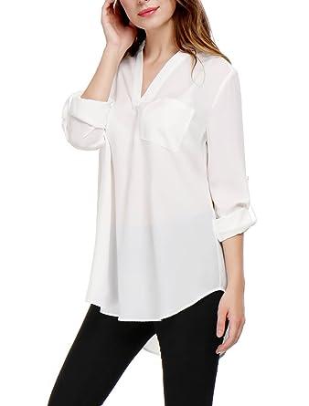 d3f07cad1f246c Allegra K Women's V Neck Roll up Sleeves Hi-lo Hem Chiffon Tunic Top at  Amazon Women's Clothing store: