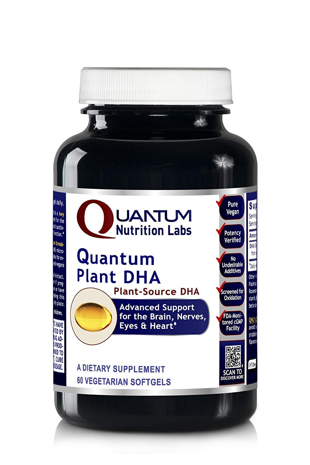 Quantum Plant DHA, 180 Vegan Softgels - Plant-Source DHA for Quantum-State Support for The Brain, Nerves, Eyes and Heart