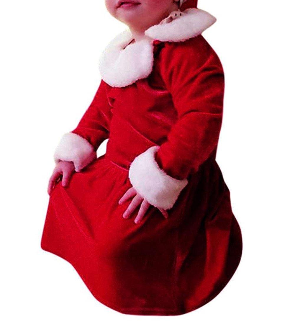 Neugeboren Kleider Hirolan Babykleidung Säugling Strampler Weihnachten Mädchen O-Ausschnitt Faux Pelz Hals Kleid 0-24 Monate Baby Outfits Lange Hülse Kleider