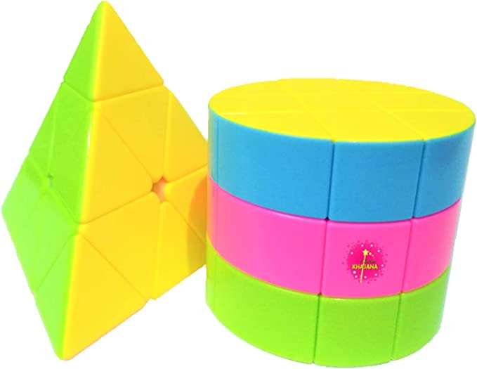 Online Khajana Puzzle Game Combo for Kids, Cylindrical and Pyraminx Magic Speed Cubes, Fast and Smooth Stickerless Cube, Set of 2, Size 3x3