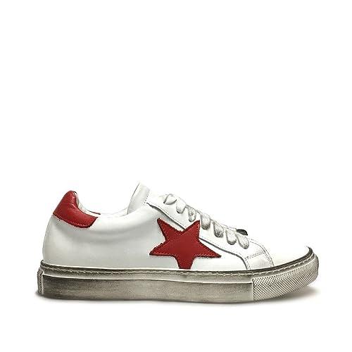 Vera Stella Made Donna Con In Italy Pelle Bianche Rossa Sneakers uK3F1cTlJ5