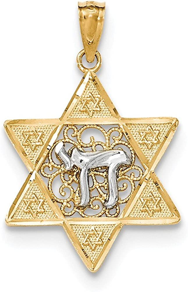 14k Two-tone Gold Polished Star of David Pendant