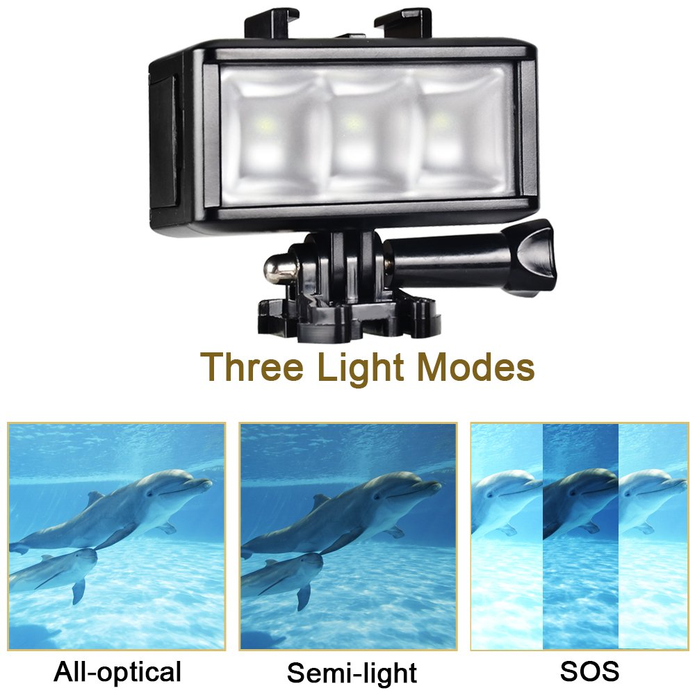 UTEBIT Diving Light for Gopro Hero 5 4 3 + 3 2 1, 40M Underwater 3 LED Video Light Fill Night Light Video Studio Photo Lamp