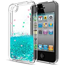 iPhone 4S Case,iPhone 4 Case with HD Screen Protector for Girls Women,LeYi Cute Shiny Glitter Moving Quicksand Liquid Clear TPU Protective Phone Cover Case for Apple iPhone 4/ 4S/ 4G ZX Turquoise