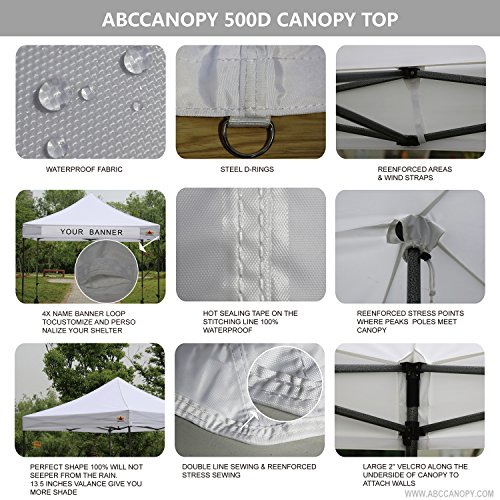ABCCANOPY 10 x10 Pop Up Canopy Commercial Event Canopy Market Stall Canopy Booth Outdoor Trade Show Booth With Wheeled Carry Bags by abccanopy (Image #4)