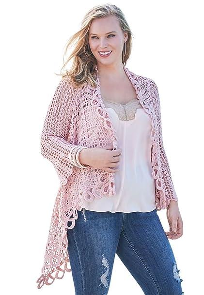 433f4cb16a9 Roamans Women s Plus Size Crochet Starburst-Stitch Cardigan - Pink Peach