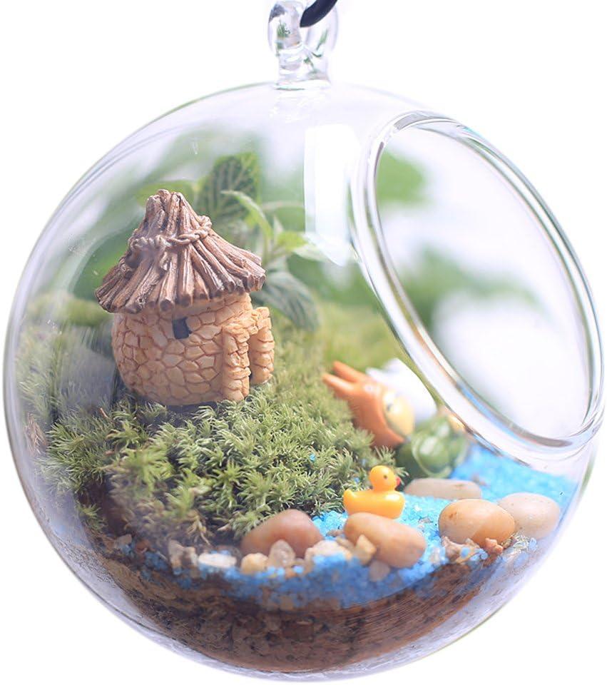 Censhaorme Fairy Cottage Landscape Decor Resin House Garden Ornament