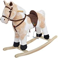 Baybee Unicorn Horse Wooden Plush Rocking Horse with Realistic Sounds | Safely Holds Children ( Chocolate )